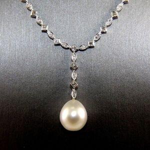 Jewelry - Pearl Diamond Necklace Pendant 18K WG 3.40Ct 13mm
